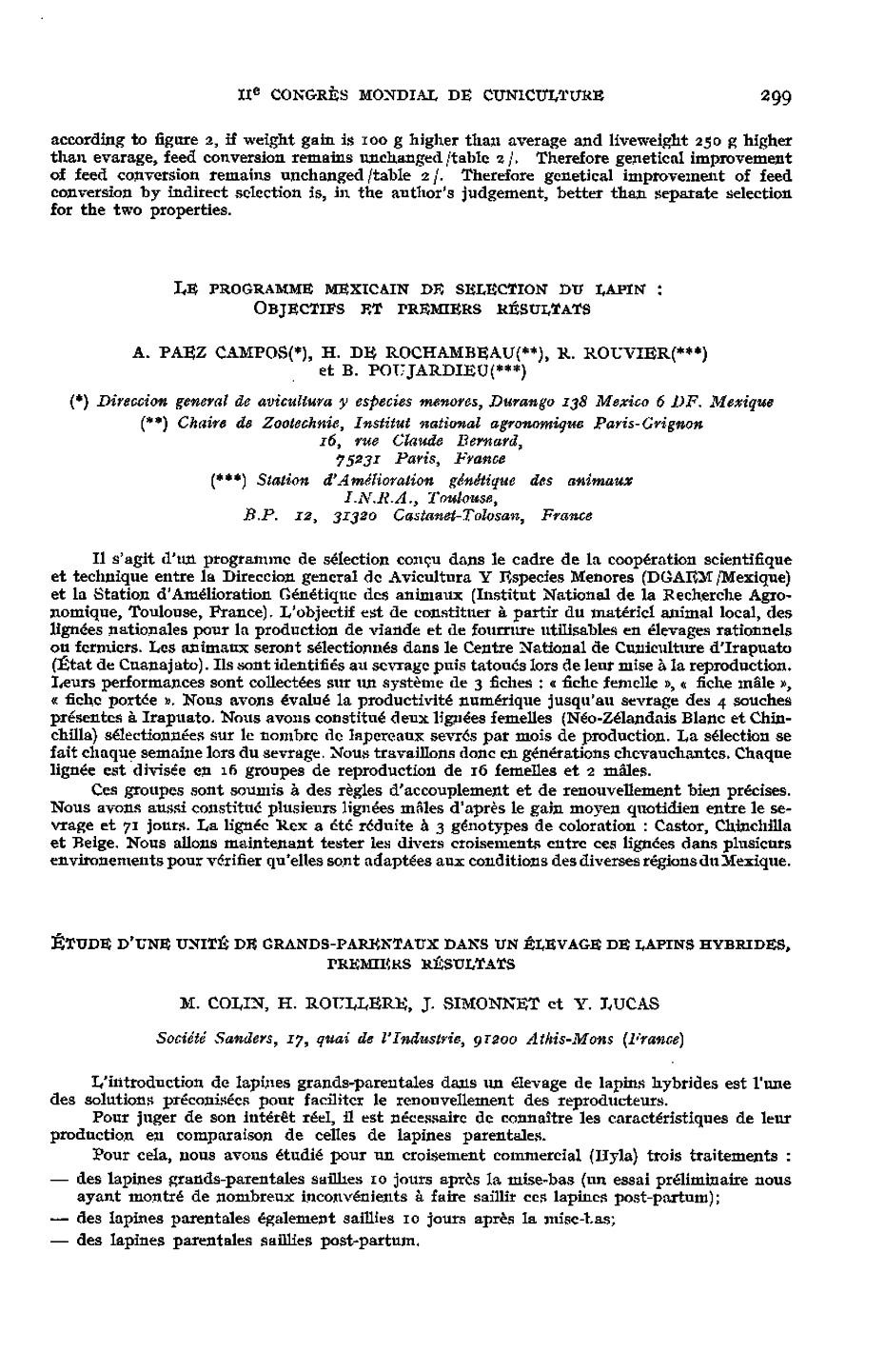 Le Programme Mexicain De Selection Du Lapin Objectifs Et Premiers