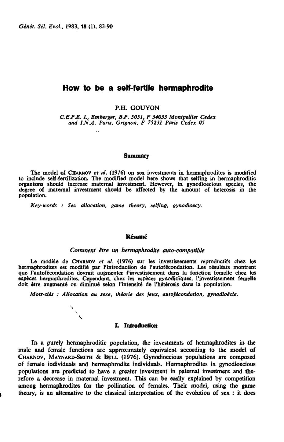 How To Be A Self Fertile Hermaphrodite Genetics Selection Evolution